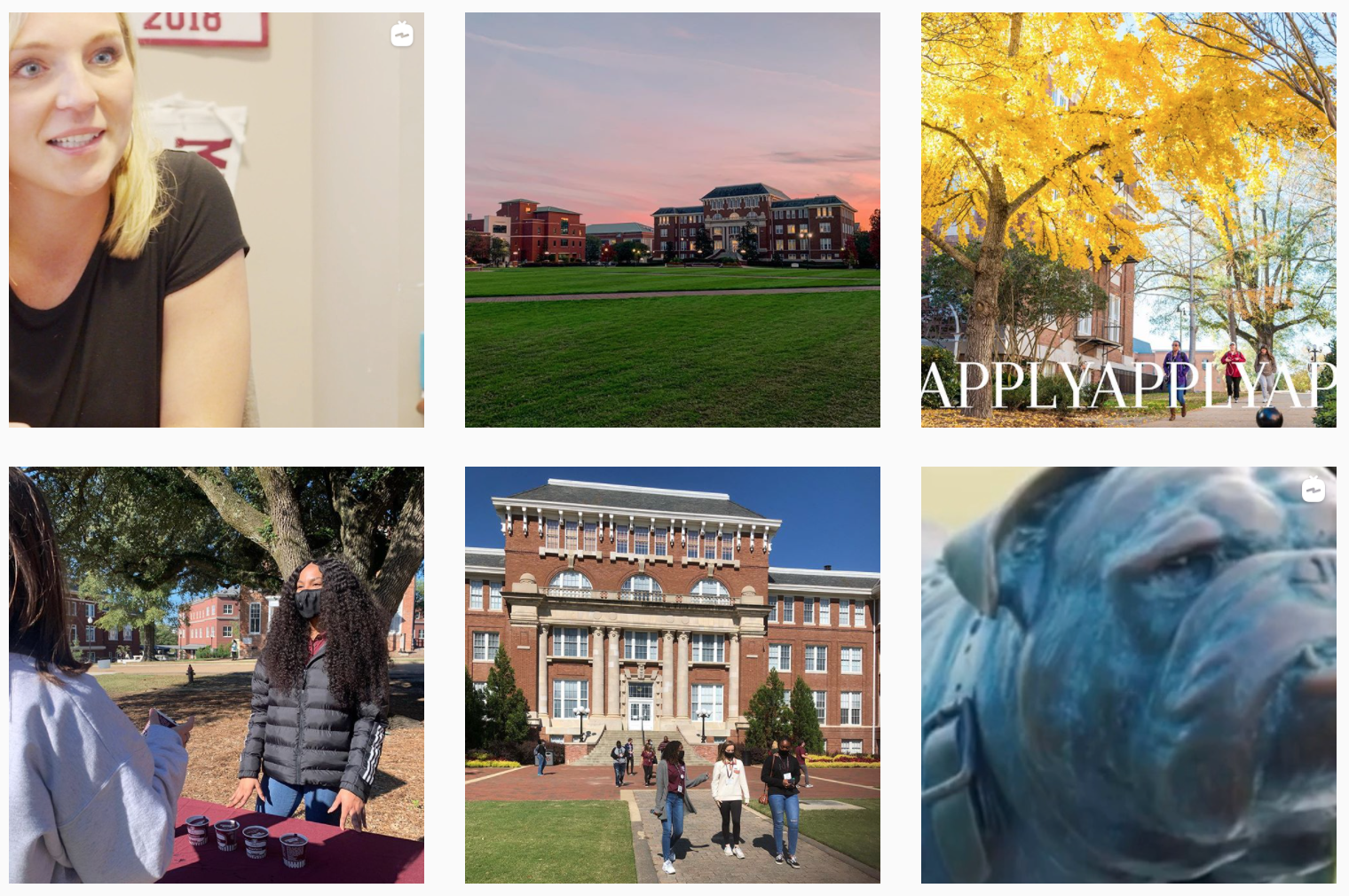 Screen capture of Admissions Instagram recent posts.